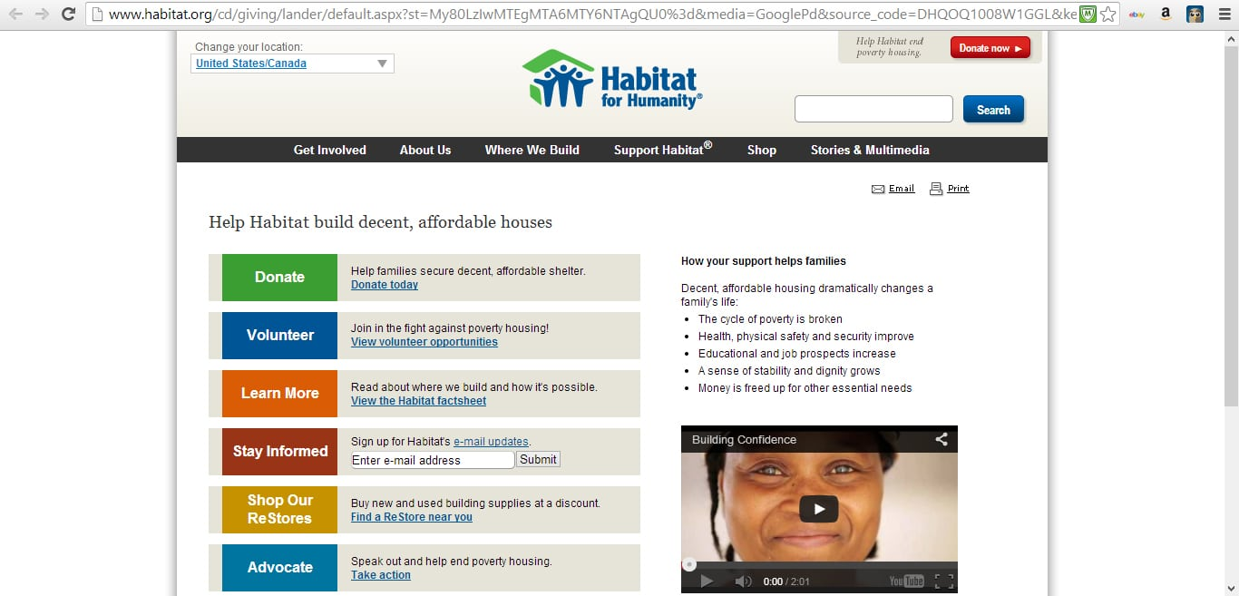 Habitat for Humanity NonProfit Homepage