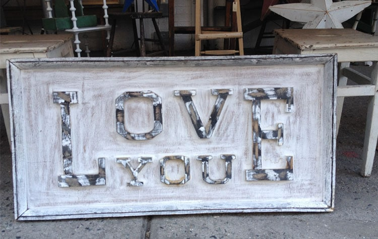 Love you sign in NY antique store
