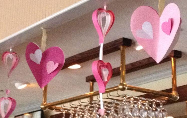 Hearts hanging in restaurant NY