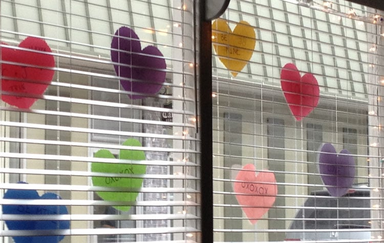Hearts hanging in NY store window