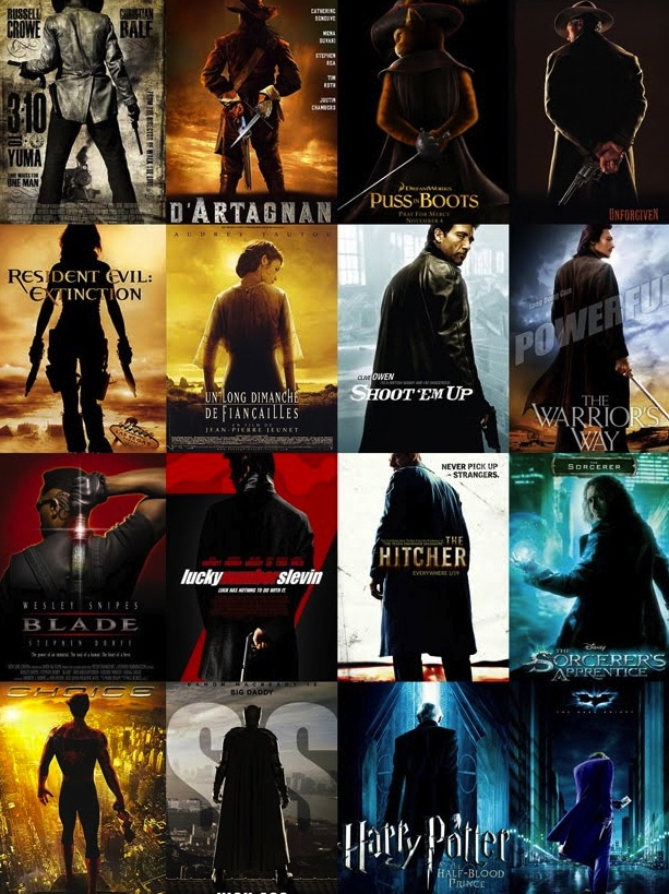 dark colored movie posters that look the same