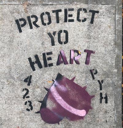 Protect-Yo-heart-Street Art Graphic-on-Sidewalk