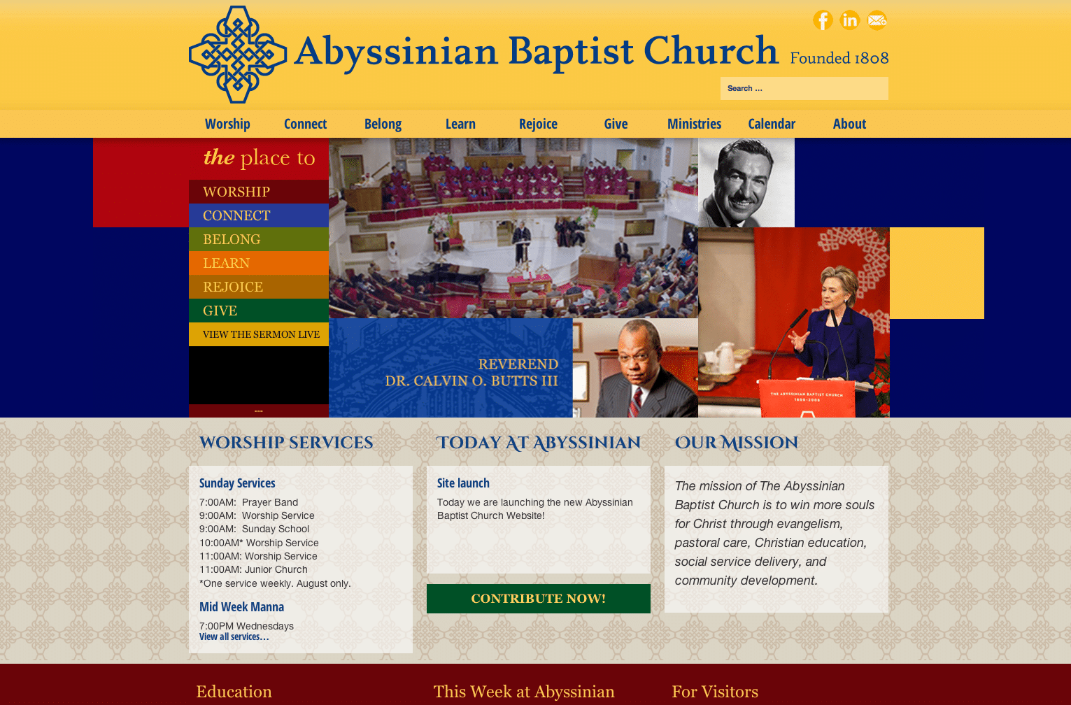 Abyssinian Baptist Church website Home Page