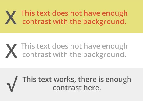 Text-Contrast-Example showing ADA compliance