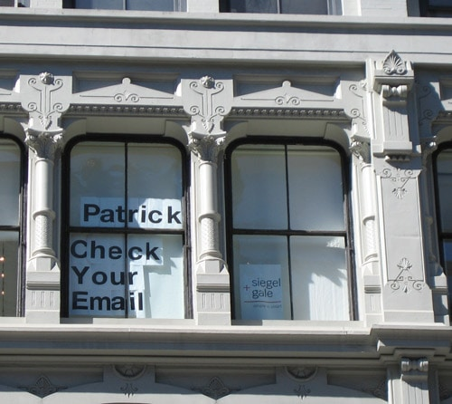 Funny Sign in Window Saying Check your email