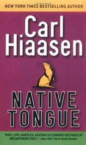 Native tongue old book cover design by Carl Hiaasen