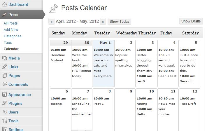 WordPress Editorial Content Calendar