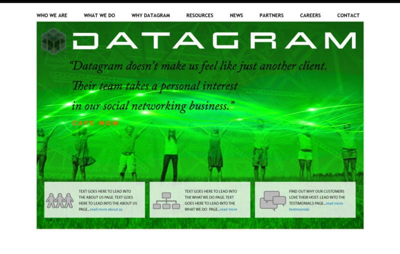 Datagram Home Page Customized Stock Image