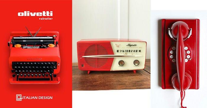 Red-Vintage-Typewriter,-Phone-and-Radio