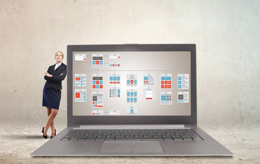 Woman Leaning on Laptop Viewing Site Map