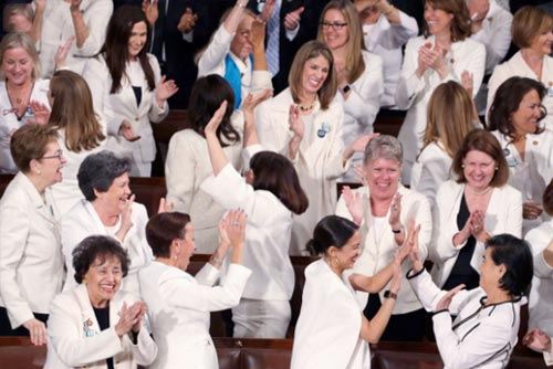 Democratic-Women Demonstrating Political branding-at-State-of-Union-Address-2019.