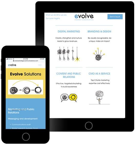Evolve Marketing Web Design on Mobile