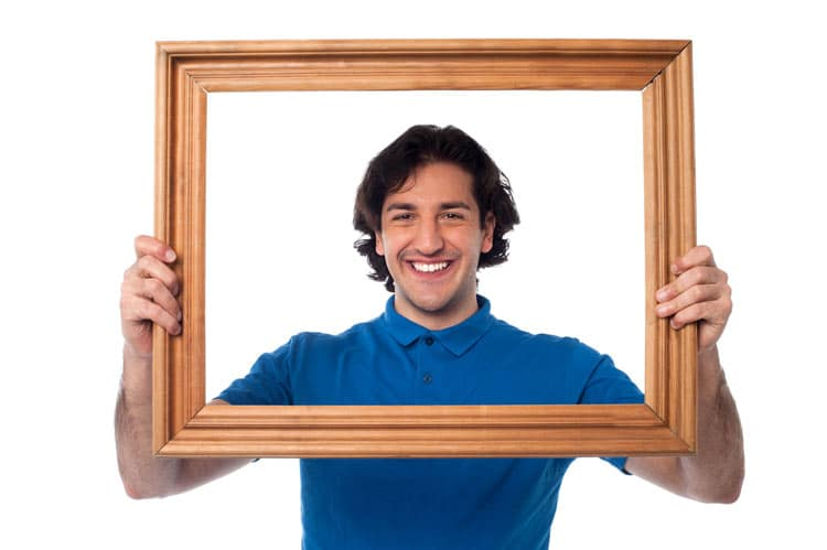 Man-in-Picture-Frame-Representing-A-Clear-Picture-of-Himself