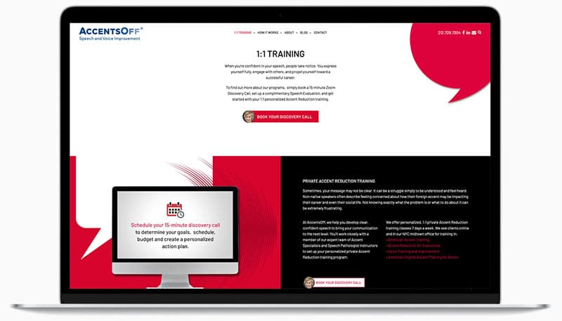 AccentsOff-Website-design-Accent-training-Page-on-laptop